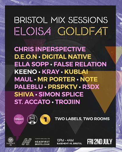 Bristol Mix Sessions x Eloisa x Goldfat at Basement 45 in Bristol