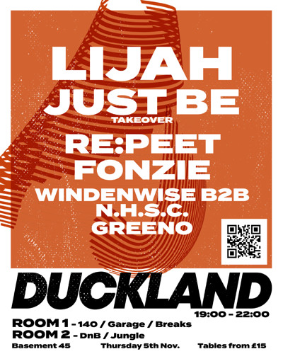 Duckland 007 w/ Lijah & Just Be. RESCHEDULED at Basement 45 in Bristol