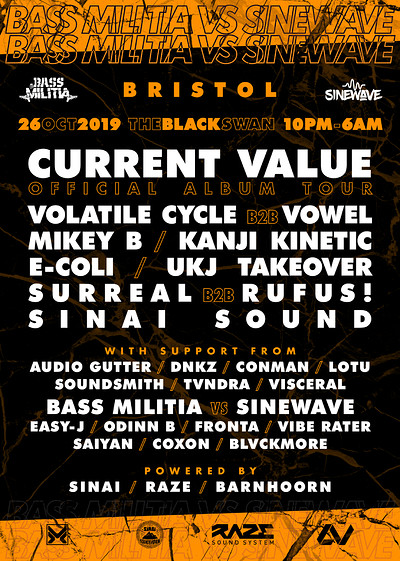 Bass Militia Vs Sine Wave W/ Current Value + MORE! at Bass Militia Vs Sine Wave W/ Current Value, Mikey B, UKJ + More! in Bristol