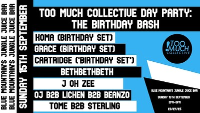 Too Much Collective Day Party: The Birthday Bash at Blue Mountain in Bristol