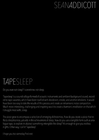 TAPESLEEP by SEAN ADDICOTT- LIVE ALBUM PERFORMANCE at Centrespace in Bristol
