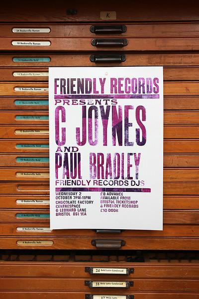 C Joynes + Paul Bradley + Friendly Records DJs at Chocolate Factory- Centrespace Gallery in Bristol