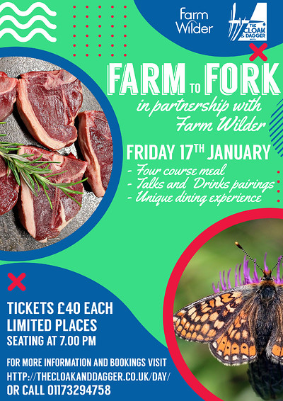 Farm to Fork in collaboration with Farm Wilder at Cloak and Dagger in Bristol