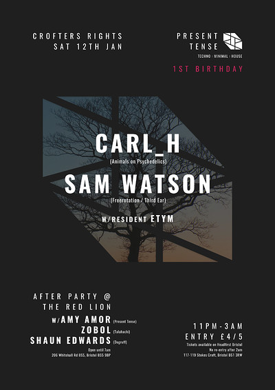Present Tense 1st Birthday: Carl_H and Sam Watson at Crofters Rights in Bristol