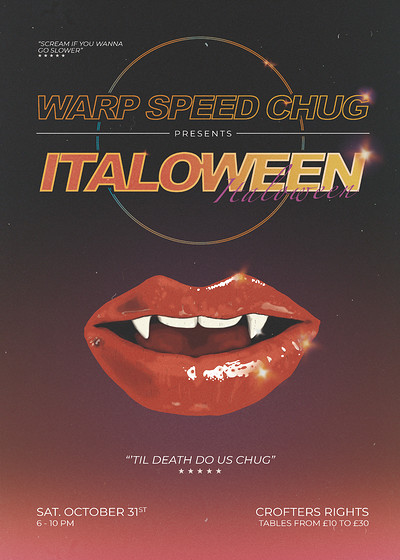 Warp Speed Chug: ITALOween at Crofters Rights in Bristol