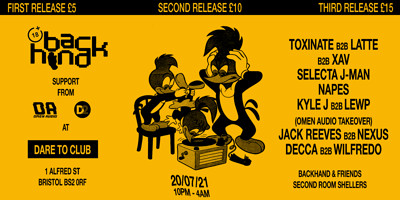 BACKHAND PRESENTS: Selecta J-Man, Napes, Latte at Dare to Club in Bristol