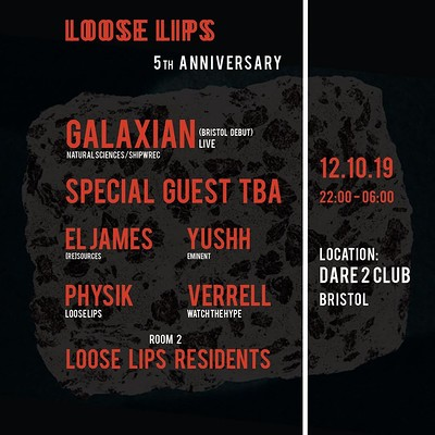 Loose Lips 5th Anniv. w/ Galaxian + Special Guest at Dare to Club in Bristol