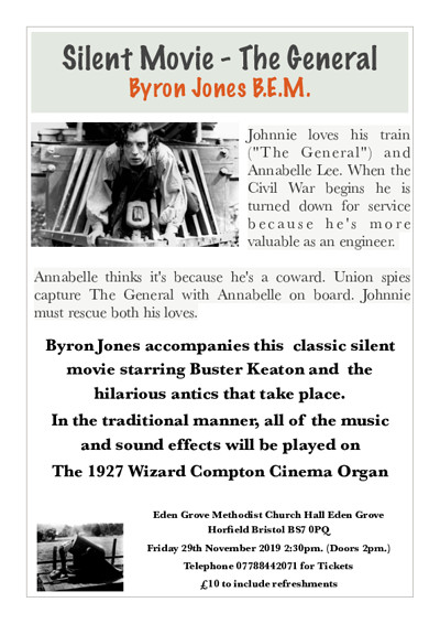 """Silent Movie """"The General"""" Buster Keaton  at Eden Grove Church Hall Horfield BS7 0 PQ in Bristol"""