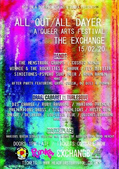 ᴀʟʟ ᴏᴜᴛ / ᴀʟʟ ᴅᴀʏᴇʀ: A Queer Arts Festival! at Exchange in Bristol