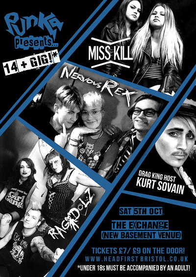 Punka Presents: Miss Kill, Nervous Rex and Ragdolz at Exchange in Bristol