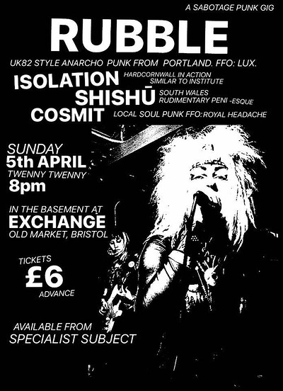 Rubble (Portland), Isolation, Shishu and Cosmit at Exchange in Bristol
