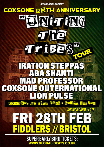 """Coxsone's 55th Anniversary - """"Uniting The Tribes""""  at Fiddlers in Bristol"""