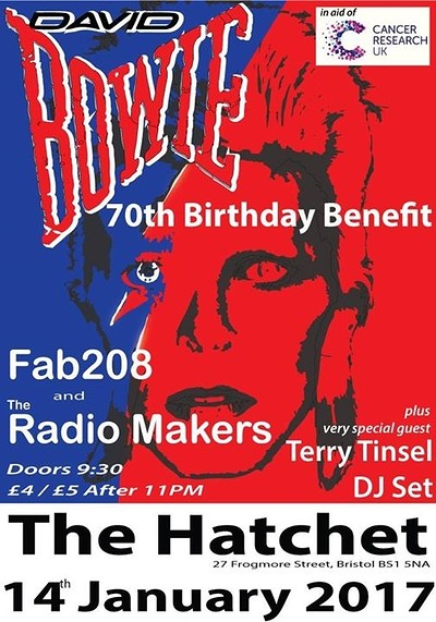 Bowie 70th Birthday Benefit for Cancer Research at Hatchet Inn in Bristol
