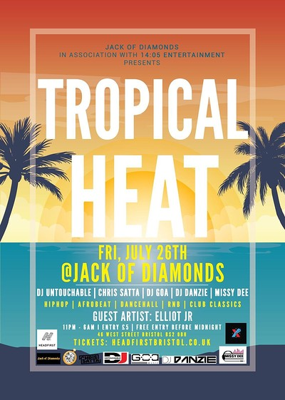 Tropical Heat - Free Entry B4 Midnight at Jack Of Diamonds in Bristol
