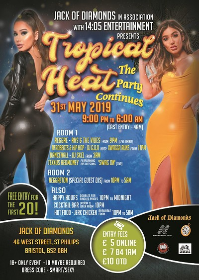 Tropical Heat - The Party Continues at Jack Of Diamonds in Bristol
