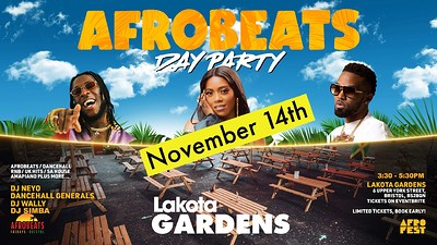 Afrobeats Day Party (November) at Lakota in Bristol