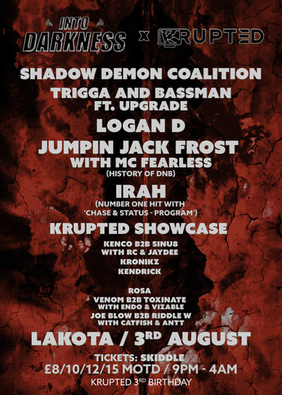 Into Darkness x Krupted 3rd Birthday at Lakota in Bristol