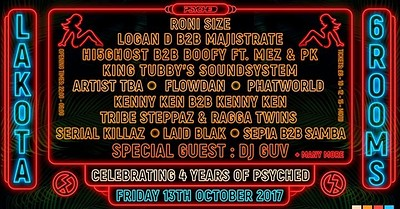 Psyched > Roni Size, Dj Guv, Logan D b2bMajistrate at Lakota in Bristol
