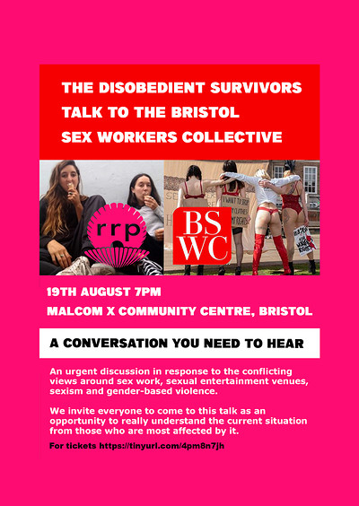 Discussion with Bristol Sex Workers Collective  at Malcom X Community Centre in Bristol