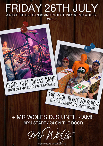 Heavy Beat Brass Band & The Cool Beans Roadshow! at Mr Wolfs in Bristol