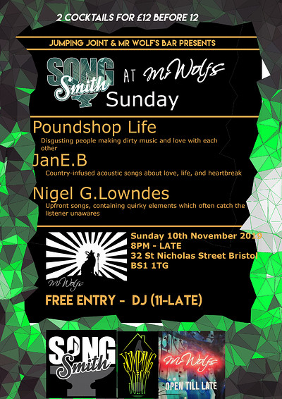 SongSmith Sunday @Mr Wolf's at Mr Wolfs in Bristol