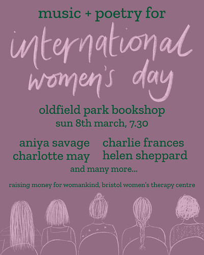 Music + Poetry for International Women's Day at Oldfield Park Bookshop in Bristol