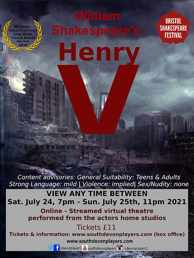 William Shakespeare's Henry V (online theatre) at Online in Bristol