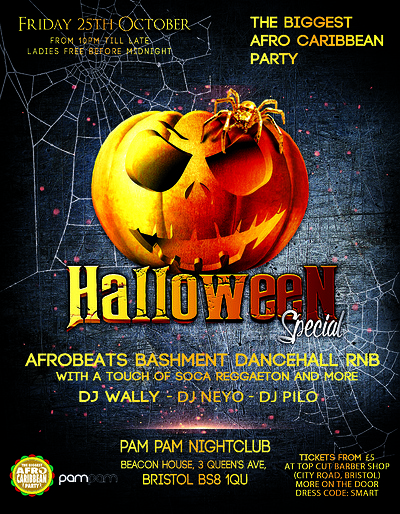 The Biggest Afrocaribbean Halloween Party at Pam Pam in Bristol