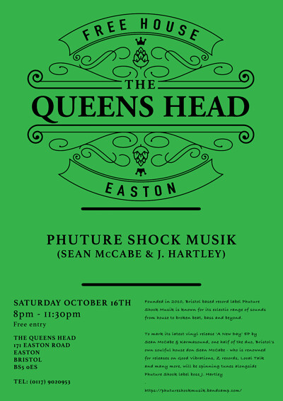 Phuture Shock Musik w/ Sean McCabe & J. Hartley at Queens Head Easton in Bristol