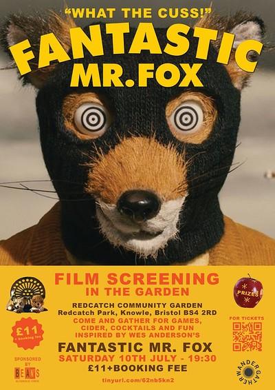 Garden cinema: Fantastic Mr Fox at Redcatch Commmunity Garden in Bristol