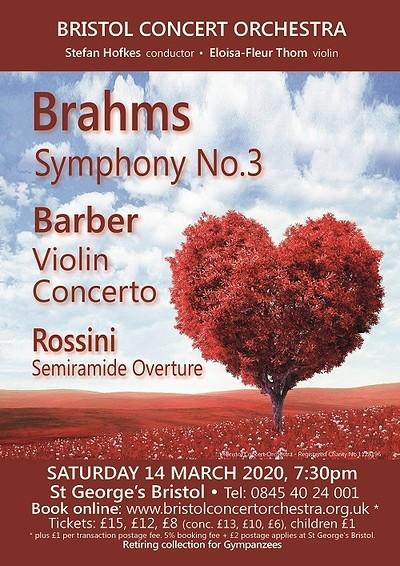 Bristol Concert Orchestra: Brahms Barber & Rossini at St George's Bristol in Bristol