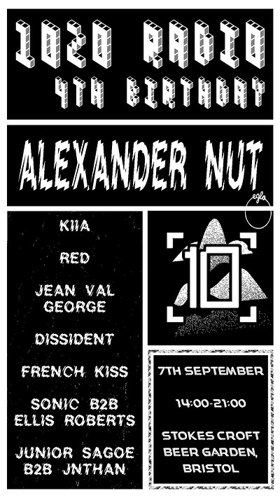 1020 Radio 4th Birthday: Alexander Nut & Residents at Stokes Croft Beer Garden in Bristol