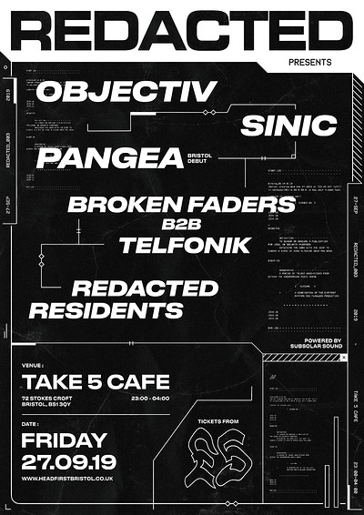Redacted: 003 - Objectiv, Sinic, Pangea at Take Five Cafe in Bristol