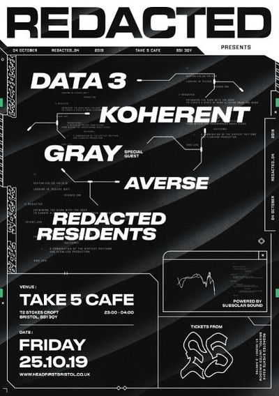 Redacted: 004 - Data 3, Koherant, Gray at Take Five Cafe in Bristol