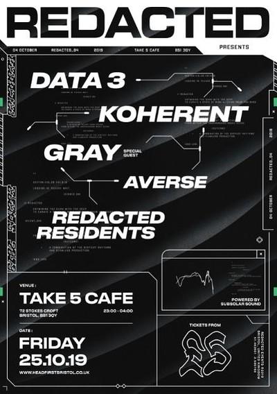 Redacted: 004 - Data 3, Koherent, Gray at Take Five Cafe in Bristol