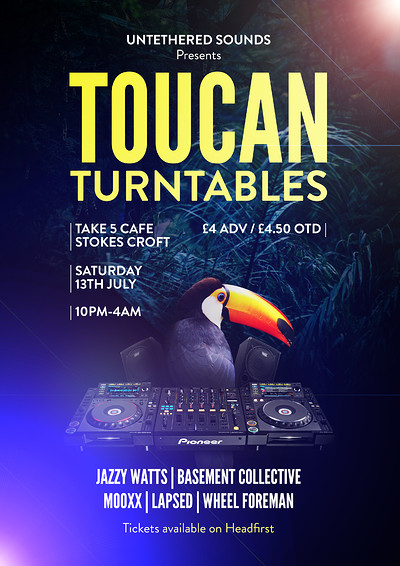 Untethered Sounds presents: TOUCAN TURNTABLES at Take Five Cafe in Bristol