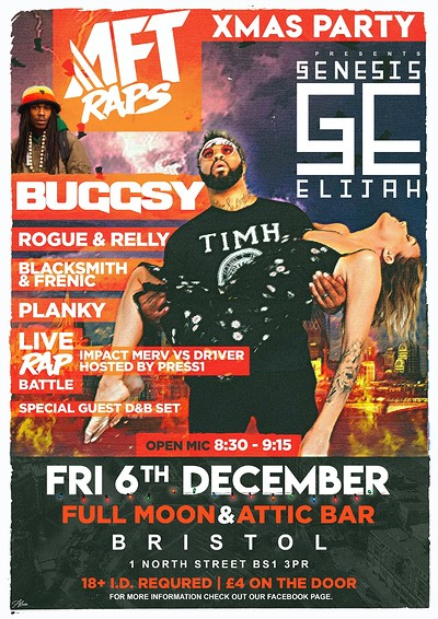 AFT Raps Xmas Party: Genesis Elijah, Buggsy & More at The Attic Bar in Bristol