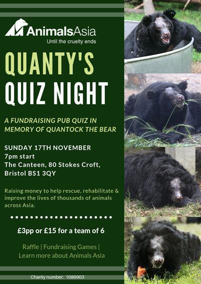 Animals Asia Quanty's Quiz Night at The Canteen in Bristol