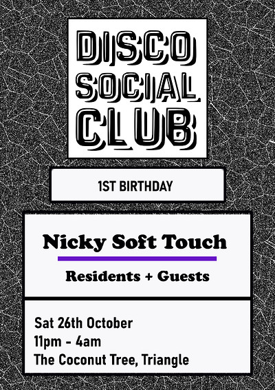 Disco Social Club with Nicky Soft Touch at The Coconut Tree, Triangle in Bristol