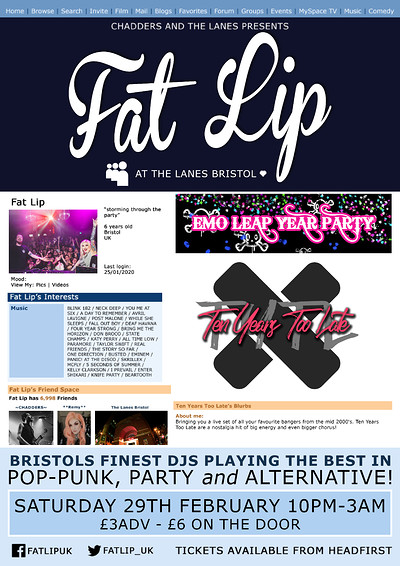 ★ FAT LIP ★ Emo Leap Year Party!  at The Lanes in Bristol