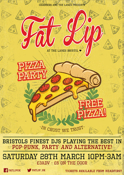★ FAT LIP ★ Pizza Party! 25th April @The Lanes at The Lanes in Bristol