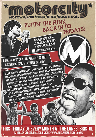Motorcity - Motown, Soul, Funk, Disco, Rock n Roll at The Lanes in Bristol