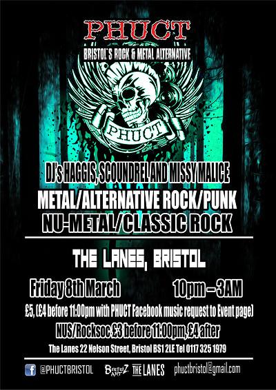 PHUCT - Bristol's Rock & Metal Alternative - Frida at The Lanes in Bristol
