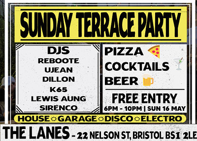 Sunday Terrace Party at The Lanes in Bristol