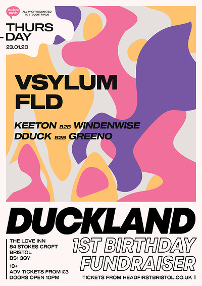 DUCKLAND 1st BIRTHDAY for Student Minds at The Love Inn in Bristol