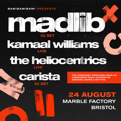 Madlib, Kamaal Williams, The Heliocentrics,Carista at The Marble Factory in Bristol