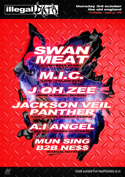 Illegal Data #8: Swan Meat / M.I.C. / J Oh Zee +++ at The Old England Pub in Bristol