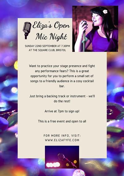 Eliza's Open Mic Night at The Square Club in Bristol
