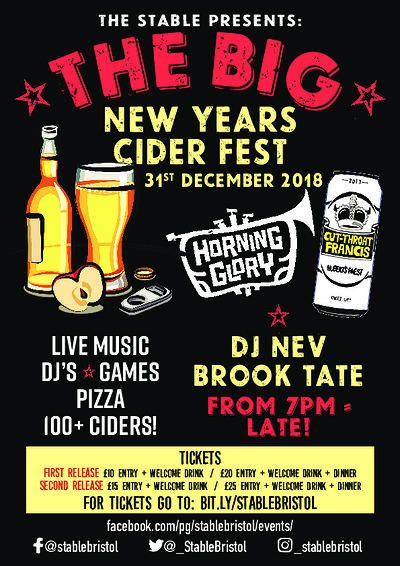 The Big NYE Cider Fest 18/19 at The Stable, Bristol in Bristol