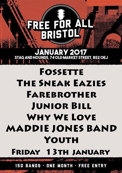 Fossette, The Sneak Eazies, Farebroth at The Stag And Hounds in Bristol